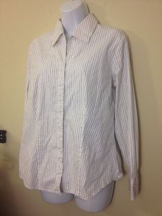 "Chico's Chico PINSTRIPE CAREER PROFFESIONAL BLOUSE 3 EUC SIZE 2 BUST42"" #Chicos #Blouse"