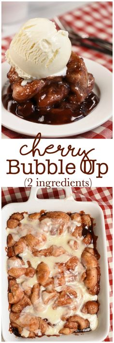 2 Ingredient Cherry Bubble Up makes an easy breakfast or dessert! #AD #Rhodes #FrozenDough
