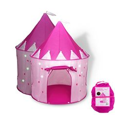 THE PERFECT PLACE TO RELAX AND DREAM THE DAY AWAY: FoxPrint Princess Play tent creates a kingdom in any corner of the house with this magical castle for kids. This charming castle has two side windows for ventilation and enough room for 2-3 little princesses to play. GREAT FOR A BACKYARD ADVENTURE: Your child will have hours of fun with this colorful play tent decorated with hearts and glow-in-the-dark-stars! Pop it up in the backyard, and she's got a magical cave, a fort to be guarded or...
