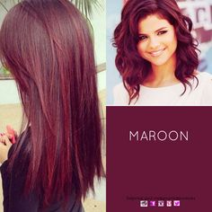 Hair Colour - Maroon #haircolour #redhair wanna try this color!! My hair is like her length! #Selena