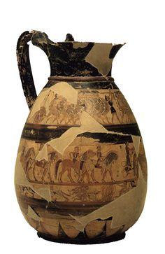 Olpe Chigi - 640 a.C. ca - ceramica policroma; sono presenti integrazioni conservative - Veio, necropoli - Villa Giulia, Roma, Museo Nazionale Etrusco