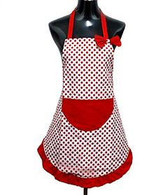 Hyzrz Lovely Lady Red Dot Kitchen Flirty Canvas Restaurant Cake Funny Aprons for Women Chef Bib Gift >>> Be sure to check out this awesome product.