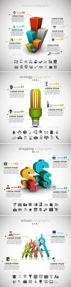 4 in 1 Infographics Bundle by grki Vector set of different infographics. Contains Business, Ecology, School and Shopping themes. ZIP includes free f Graphic Design Services, App Design, Infographics Design, Data Visualization Examples, Strategy Map, Folder Design, Charts And Graphs, School Shopping, Visual Identity