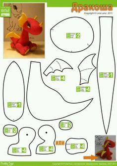 Blog do passo a passo: Mais dinossauros e dragões fofos!! Feltro tecido passo a passo pap diy