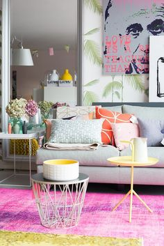 To choose a colourful room is not for everyone. However, in full white room, there's nothing better than adding a bit of colour for contrast and to live up the place. Home Decor Styles, Cheap Home Decor, Room Colors, House Colors, Colorful Decor, Colorful Interiors, Living Room Designs, Living Room Decor, Living Rooms