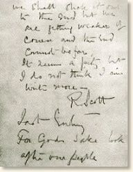 Last entry of Captain R.F. Scott Thursday, March 29 1913 reads: Since the 21st we have had a continuous gale from W.S.W. and S.W. We had fuel to make two cups of tea apiece and bare food for two days on the 20th. Every day we have been ready to start for our depot 11 miles away, but outside the door of the tent it remains a scene of whirling drift.