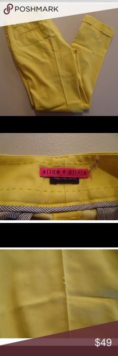 """Alice + Olivia Sz 2 Short Pants Straight Leg Pants have rips on them.  There is a stain on front inner seam.  Waist 15"""" Length 34""""  Please view all pictures before purchasing, pictures are of actual item.  If you have any questions or concerns feel free to contact me. Thank you for taking the time to view this item. Make sure to take a look around the store for great prices and value. Alice + Olivia Pants Straight Leg"""