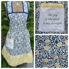 """Beautiful blue and yellow scripture apron, """"The joy of The Lord is my strength"""", $40 @ etsy.com/shop/momandmestitch"""