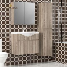 Σετ Μπάνιου, Odelia 75,Κρεμαστό έπιπλο με δύο πόρτες με νιπτήρα 75*45*62, Καθρέπτη Ντουλάπι 71*14*65 (Δύο Πόρτες) Και Κρεμαστή Στήλη 35*30*160, Χρώμα Σονόμα Από την Alphab2b.gr Toilet, Curtains, Shower, Bathroom, Rain Shower Heads, Washroom, Flush Toilet, Blinds, Full Bath