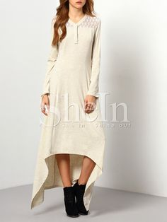 Grey w/ Lace High Low Casual Dress