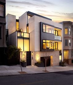 home  A facade of shape, contrast and recesses.