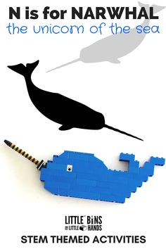 Narwhal activities for kids including LEGO narwhal and Whale STEM ideas. Perfect for an Ocean or Arctic themed lesson. Includes Narwhal facts for kids.