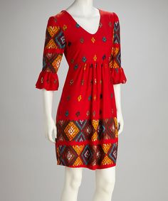 Loving this Red & Teal Bell-Sleeve Dress on #zulily! #zulilyfinds
