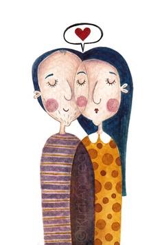 Illustration by Kürti Andrea Couple Illustration, Collage Illustration, Character Illustration, Illustrations Posters, Doodles Zentangles, Arte Pop, Naive Art, Expo, Cute Drawings