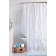 This Ruffled Shower Curtain Is Made Entirely Of Machine Washable Cotton.  Made For All Ages