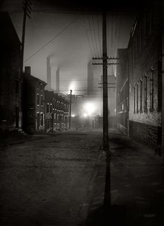 """Pittsburgh, PA ca. 1900.  """"A Mill Street."""" I imagine there are a few streets in Pittsburgh where the view hasn't changed much."""