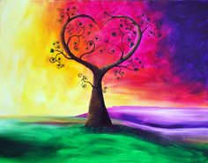 Heart Tree Print of Original Painting Wall by RMBabstractStudio