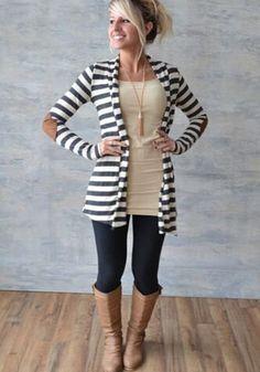 White Striped Print Fashion Cardigan Sweater
