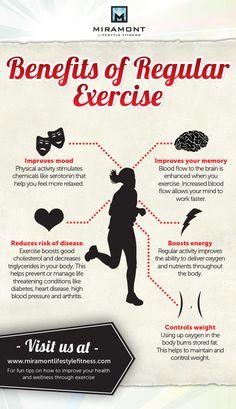 Benefits of regular exercise | Popular Infographics #bushnellpt #oremsportsmedicinecenter #benefitsofexercise
