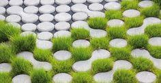 eco grass pavers - porous stones are permeable for water LUMIX pavement (made by GODELMANN) Landscape Plans, Urban Landscape, Landscape Architecture, Landscape Design, Landscape Materials, Design Cour, Grass Pavers, Pavement Design, Paving Pattern