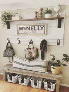Shiplap Coat Rack for entry with bench