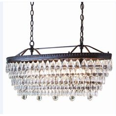 Shop allen + roth 4-Light Oil-Rubbed Bronze Crystal Chandelier at Lowes.com (This is such a good knockoff of PB's Clarissa for 1/3 the price!)