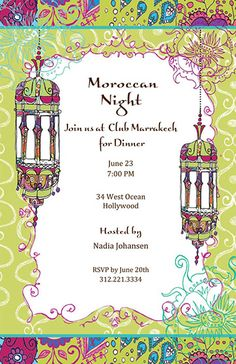 Parties Illustration Description Moroccan Nights Invitation – A Moroccan theme is a great twist on the next party you are planning. Fun colors and beautiful design create t… – Read More – Morrocan Theme Party, Moroccan Party, Moroccan Theme, Moroccan Wedding, Morrocan Food, Arabian Nights Prom, Arabian Party, Arabian Nights Theme, Arabian Theme