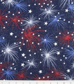 Holiday Inspirations Fabric-Fireworks With Stars Glitter, , hi-res
