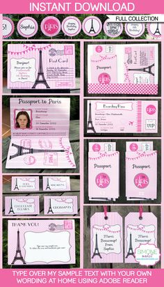 Paris Party Invitations & Decorations - full Printable Birthday Party Collection - INSTANT DOWNLOAD with EDITABLE text - personalize at home