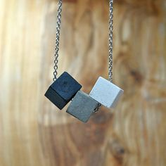 Concrete necklace with three cubes, modern concrete necklace, concrete jewelry, cement tag, geometric . Dainty Jewelry, Simple Jewelry, Cute Jewelry, Boho Jewelry, Jewelry Sets, Handmade Jewelry, Jewelry Design, Jewelry Bracelets, Opal Jewelry