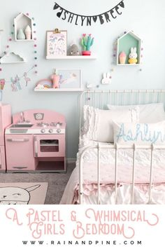 Pastels unicorns kawaii and whimsical decor in this beautiful modern girls bedroom. Toddler or big girls will love the pink blue white and grey colors of bunnies clouds baby dolls and ruffles in this sweet and magical kids bedroom. Stylish Bedroom, Gray Bedroom, Home Decor Bedroom, Bedroom Rustic, Bedroom Modern, Modern Girls Rooms, Kids Rooms, Blue Girls Rooms, Whimsical Bedroom