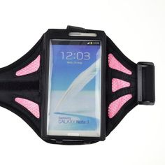 eBigValue B00EI34TBG Adjustable Fabric Net Armband for Samsung Galaxy S4/Samsung Galaxy Note 2/Samsung Galaxy Note 3- Black/Pink. Compatible with Samsung galaxy note 3 / note 2 n7100 / note gt- n7000 i9220 / lg optimums g pro. Case dimension:6.8×1×4 inch, note :Please check your device dimension whether suit this case before purchasing. Adjustable armband gives you the versatility of carrying your device in a variety of ways. See-through window allows you to view and access your device....
