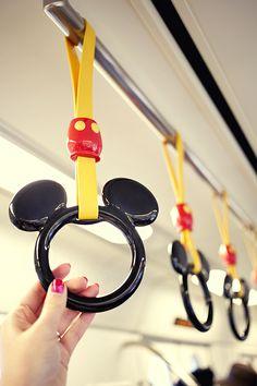 Mickey Mouse subway handles at Tokyo DisneySea