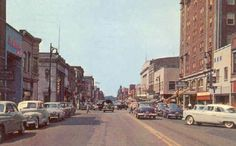Downtown Elkhart, Indiana, in the 1950s. Photo from a postcard.