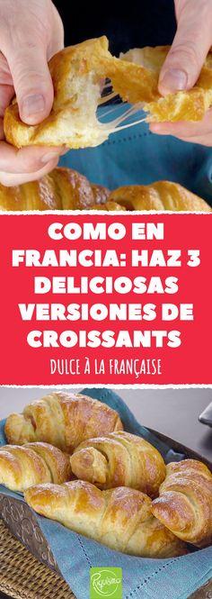 Como en Francia: haz 3 deliciosas versiones de croissants. Dulce à la française #dulce #desayuno #croissant #croissantrelleno #dulcesrellenos #frances #dulcefrances #desayunofrances #croissantdulce #croissantsalado #nutella #chocolate