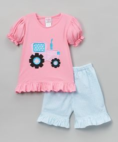 Love this Pink & Blue Tractor Top & Shorts - Infant, Toddler & Kids on #zulily! #zulilyfinds