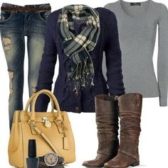Love this combo of blue and gray with mustard yellow accessory. Love the styling -- except the boots.