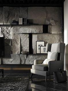 Astonishing Living Room With Stone Wall Design Ideas - Fresh Home Ideas Stone Interior, Interior Exterior, Interior Walls, Interior Architecture, Modern Interior, Stone Wall Design, Design Apartment, Wall Cladding, Interiores Design