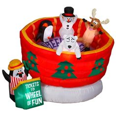 animated airblown wheel of fun ride christmas inflatableshalloween - Lowes Inflatable Christmas Decorations