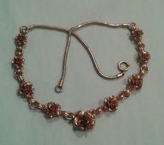 Vintage Krementz Necklace, Rose Gold tone, Roses.