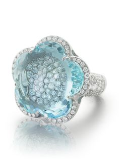 Pasquale Bruni - white gold aquamarine and diamond ring #diamondwatches #GoldJewelleryItalian
