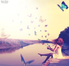 ImageFind images and videos about girl and butterfly on We Heart It - the app to get lost in what you love. Butterflies Flying, Beautiful Butterflies, Praying For Someone, Blue Butterfly, Butterfly Kisses, Scenery, In This Moment, Black And White, Gallery