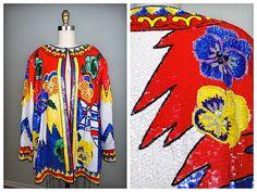 VTG elettrico con paillettes perline giacca / / Retro floreale paillettes giacca / / Plus taglia paillettes giacca x 1 x 2