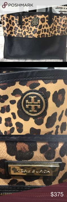 Tory Burch Leopard Shoulder Bag and Crossbody Great condition!!! Love love love this bag! Can be Shoulder bag or Crossbody. No scratches or marks. Black and leopard leather with gold hardware. 10 L x 8.5 H x 4 D Tory Burch Bags Crossbody Bags