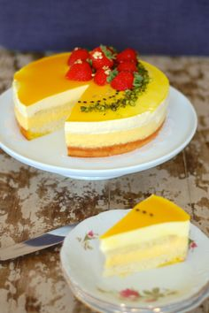 Passionfruit cake with white chocolate mousse