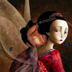 Mirada melancólica del libro Los Amantes Mariposa, escrito e ilustrado por el ilustrador francés Benjamin Lacombe. http://libros-cuentos-infantiles-juveniles.elparquedelosdibujos.com/2016/07/los-amantes-mariposa-benjamin-lacombe.html