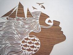 Sirene  handmade papercut by Papercutout on Etsy, $50.00