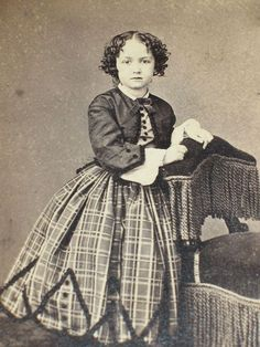 CDV Civil War era Cute Curly Haired Young Girl Fancy Dress Outfit
