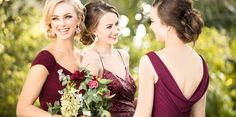 Chic Burgundy Bridesmaids Dresses for a Mixed Berry Mix-and-Match Bridal Party You'll Love Berry Bridesmaid Dresses, Bridesmaid Hair, Bridesmaids, Designer Wedding Dresses, Wedding Gowns, Palm Springs, Essense Of Australia, Bride Look, Burgundy Wedding