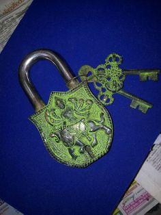 Brass Door Pad Lock Antique Engraved Mata Sherawali Figure Vintage Collection | eBay